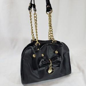 Lulu By Guinness Black Patent Leather Bow Purse